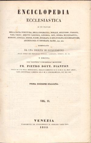 Enciclopedia Ecclesiastica Vol. II, Fr. Pietro Dott. Pianton