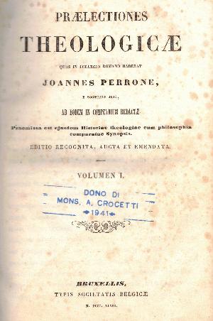 Praelectiones theologicae vol. 1,  Joannes Perrone