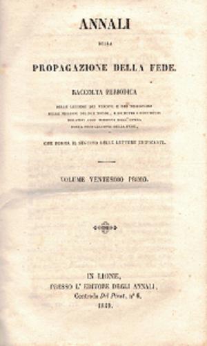 Annali della propagazione della fede Vol. 21, AA.VV.