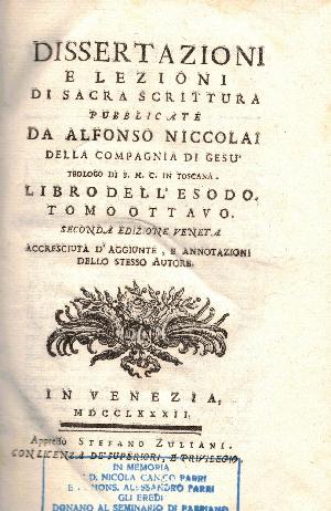 Dissertazioni e lezioni di sacra scrittura, Alfonso Niccolai