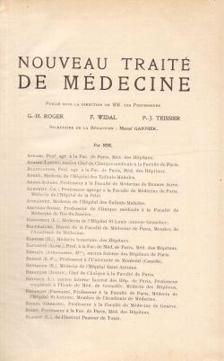 Nouveau Traité De Medecine. Tome I, G. H. Roger, F. Widal, P. J. Teissier
