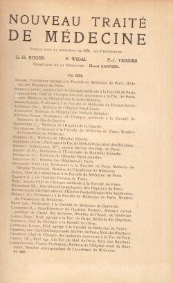 Nouveau Traité De Medecine. Tome VI, G. H. Roger, F. Widal, P. J. Teissier