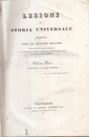 Lezioni di storia universale Volume III - Ab. Giovanni Bellomo